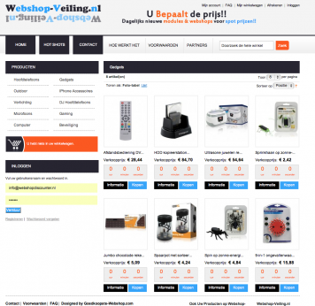 Webshop-Veiling